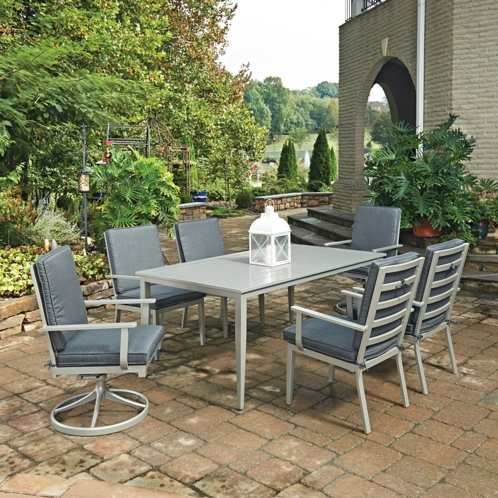 South Beach 7 Pc Rectangular Outdoor Dining Table With 4 Arm Chairs 2 Swivel Rocking Chairs