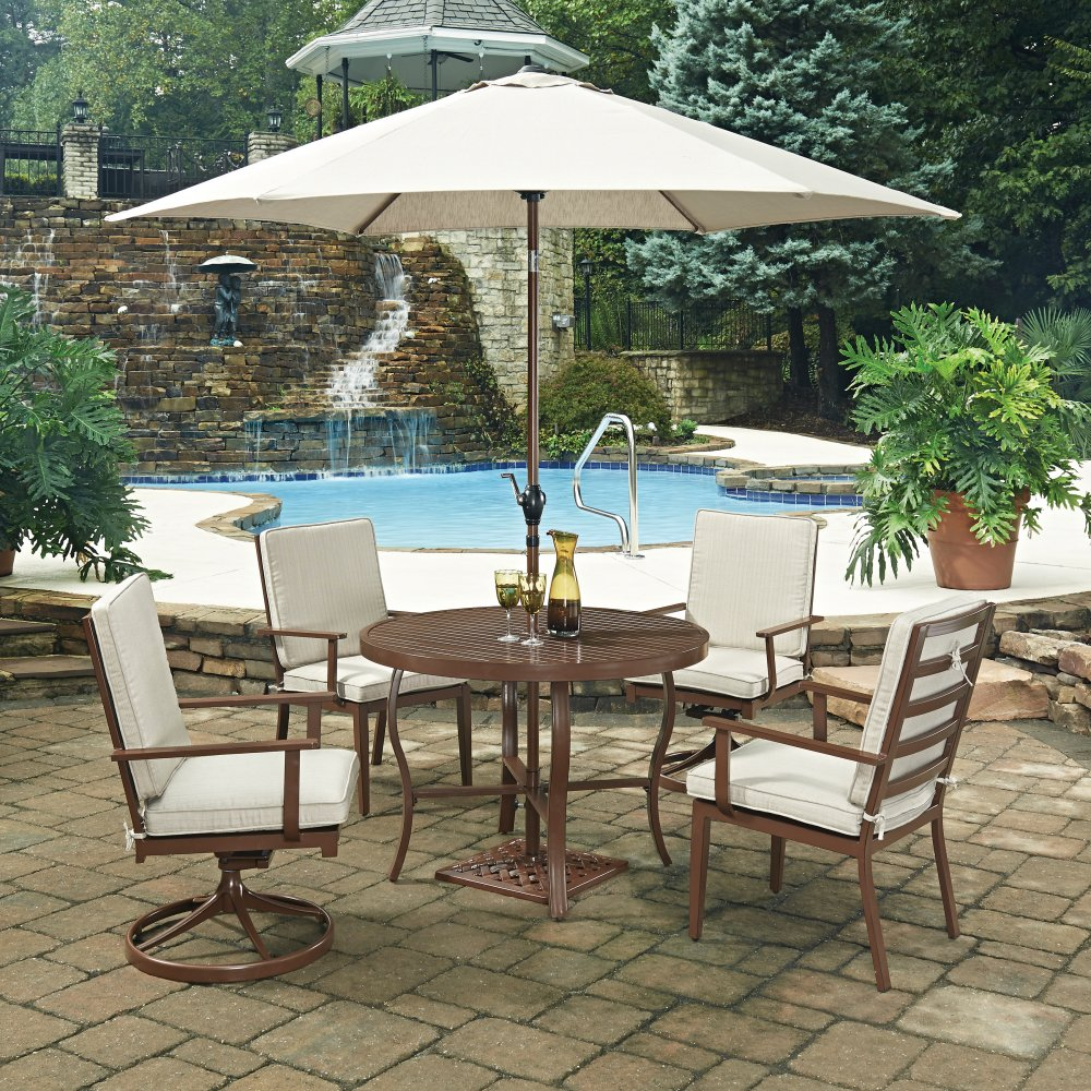 key west 7 pc round outdoor dining table 2 swivel rocking chairs 2