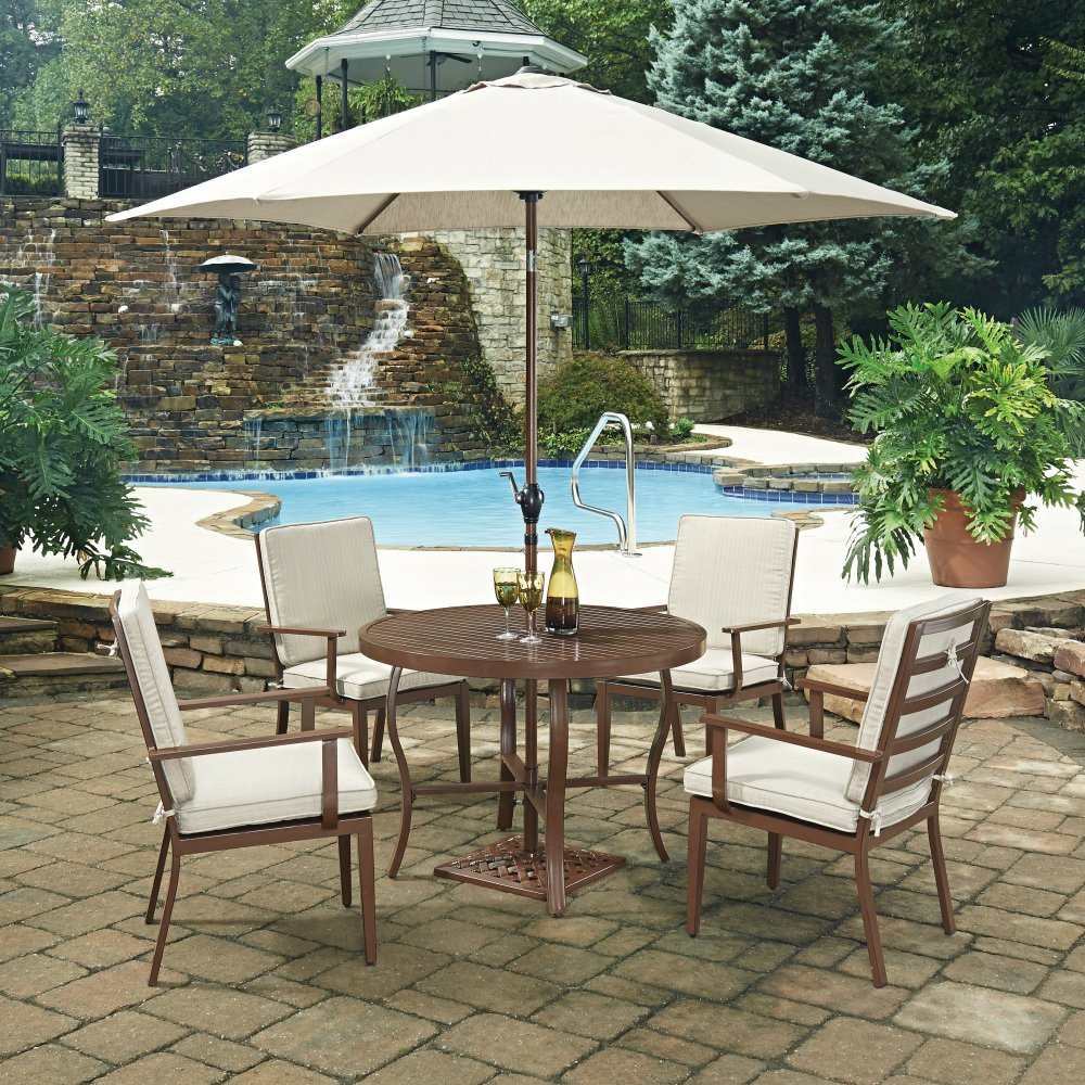 Key West 7 Pc Round Outdoor Dining Table 4 Chairs With Umbrella Base Homestyles