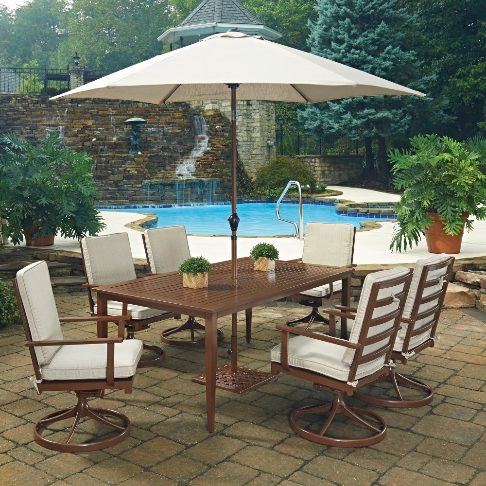 Key West 9 Pc Rectangular Outdoor Dining Table 6 Swivel Rocking Chairs With Umbrella Base