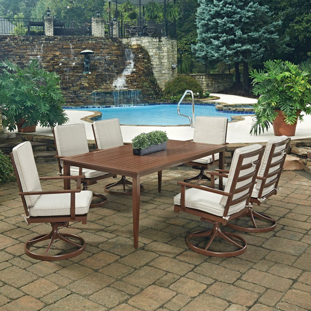 Super Key West 7 Pc Rectangular Outdoor Dining Table 6 Swivel Unemploymentrelief Wooden Chair Designs For Living Room Unemploymentrelieforg
