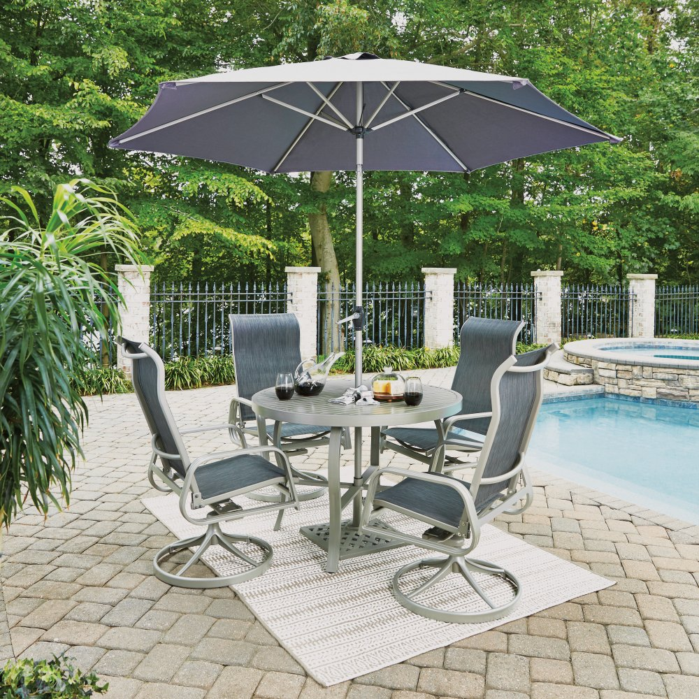 South Beach Swivel Base Chair 5700-55 shown with South Beach Table 5700-32, Umbrella 5700-66 and base 5700-67, sold separately