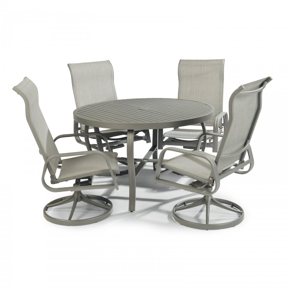 5702-30556 Daytona Seven Piece 42 Inch Round Outdoor Dining Table with Four Swivel Rocking Chairs, Umbrella, and Base
