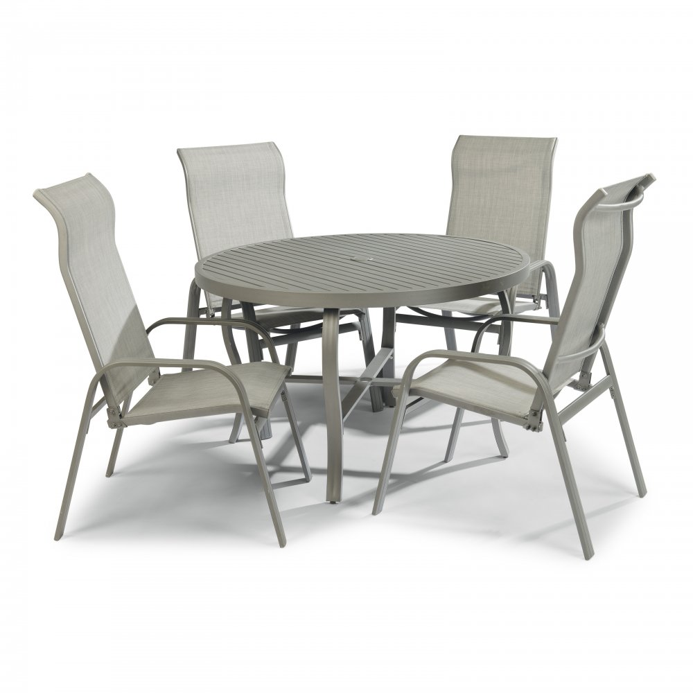 5702-32816 Daytona Seven Piece 48 Inch Round Outdoor Dining Table with Four Sling Arm Chairs, Umbrella & Base